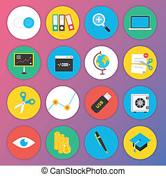 Trendy Premium Flat Icons for Web a