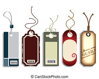 Trendy Price Tags - Set of five colorful trendy price tags,...