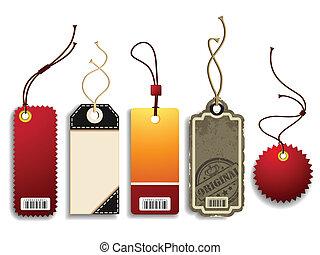 Trendy Price Tags - Vector set of five trendy cardboard...