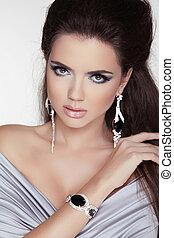 trendy, profissional, menina, accessories., moda, bonito, make-up., foto, portrait., mulher, estúdio, beleza, jóia