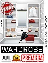 trendy, realistico, stanza, guardaroba, manifesto