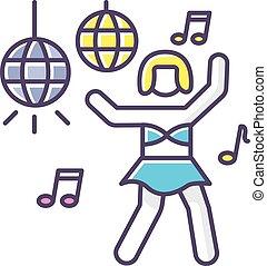 trendy, recreação, danceteria, icon., ir, energizar, partido...