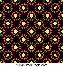 Trendy red pattern on black seamless background.