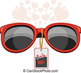 Trendy red sunglasses. Sale