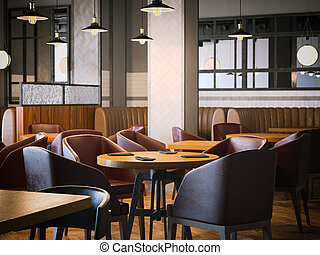 Trendy restaurant with wooden furniture. 3d rendering