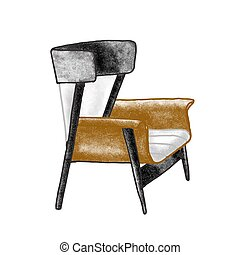 Trendy retro armchair flat vector illustration. Vintage brown chair isolated on white background. Hand drawn furniture item. Comfortable seat. Home interior element in old fashioned style.