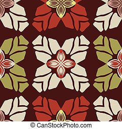 Trendy Retro Style Flower Seamless Vector Pattern