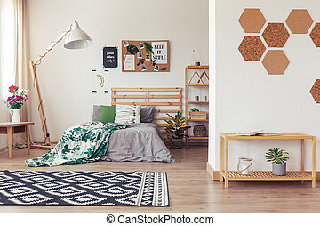 Trendy room with natural decor