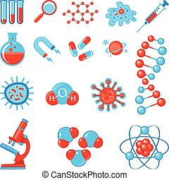 Trendy science icons. Physics Chemistry Biology and...