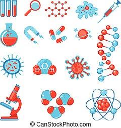 trendy, scienza, icone