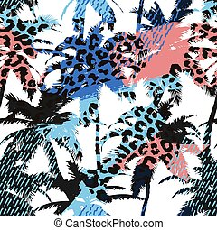 Trendy seamless exotic pattern with palm, animal prints and hand drawn textures. Modern abstract design for paper, wallpaper, cover, fabric and other users. Vector illustration.