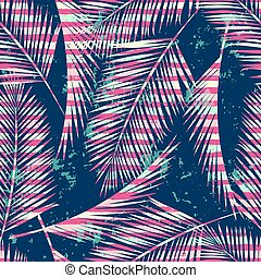 Trendy seamless exotic pattern with palm and geometric...