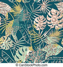 Trendy seamless exotic pattern with palm and animal prins -...