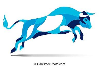 trendy, selvatico, movimento, stilizzato, silhouette, linea, saltare, vettore, toro, illustrazione
