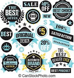 Trendy shopping labels, badges set