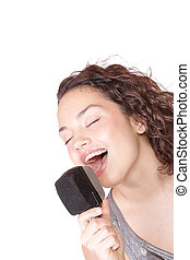 Trendy Singer Girl Singing In Retro Mic