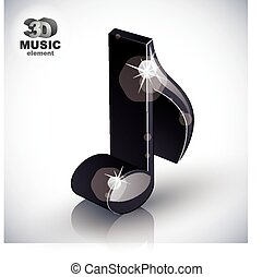 Trendy slim musical note 3d modern