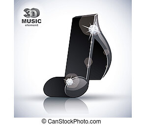 Trendy slim musical note 3d modern style icon isolated.