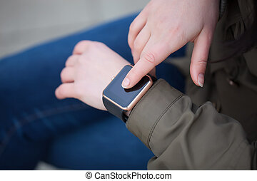 Trendy smart wriswatch in real life