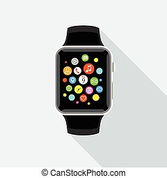 Trendy smartwatch with app icons, flat design.