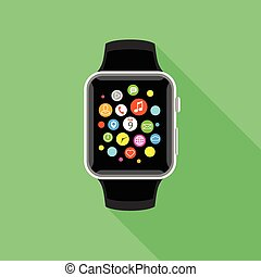 Trendy smartwatch with app icons, flat green design.