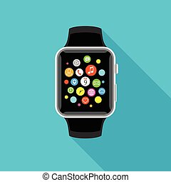 Trendy smartwatch with app icons, flat light blue design.