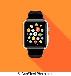 Trendy smartwatch with app icons, flat orrange design.