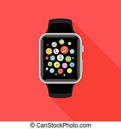 Trendy smartwatch with app icons, flat red design.