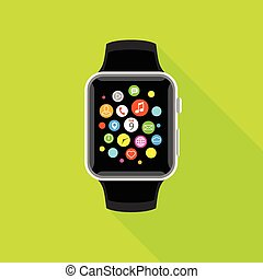 Trendy smartwatch with app icons, flat yellow design.