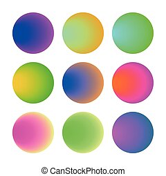 Trendy soft color round gradient set with abstract backgrounds