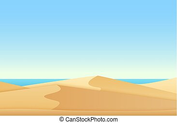 Trendy soft flat gradient color style landscape with desert and ocean sea beach vector illustration.