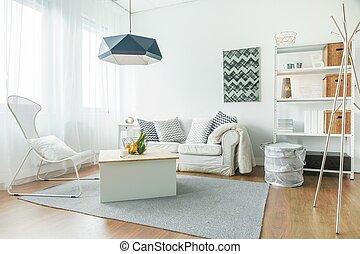trendy, stanza, mobilia