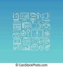 trendy, stile, vettore, lineare, illustrazione