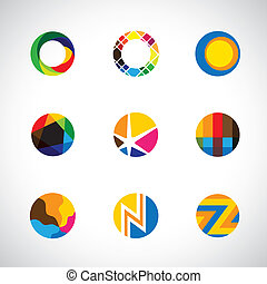 trendy, stylish & colorful abstract circle icons collection set - vector graphic.