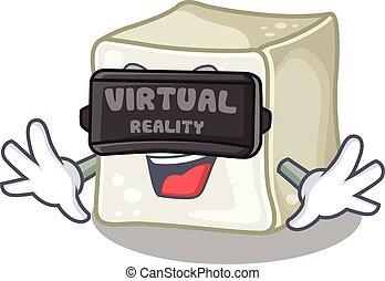 Trendy sugar cube character wearing Virtual reality headset