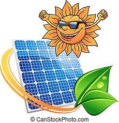 Trendy sun with a solar photovoltaic panel