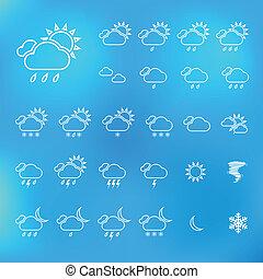 Trendy Thin Weather Icon Set. Vector