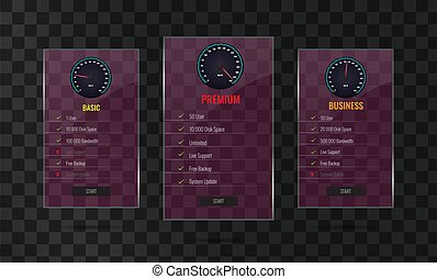 Trendy transparent price list and offer columns with glass effect.