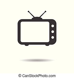 Trendy TV icon - simple flat design isolated on white background, vector