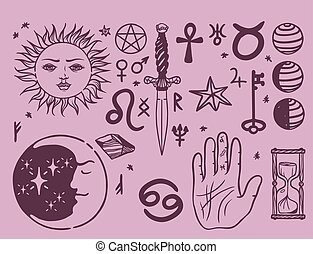Trendy vector esoteric symbols sketch hand drawn religion philosophy spirituality occultism chemistry science magic illustration