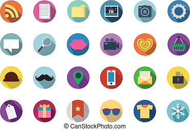 Trendy Vector Flat Icons With Long Shadow