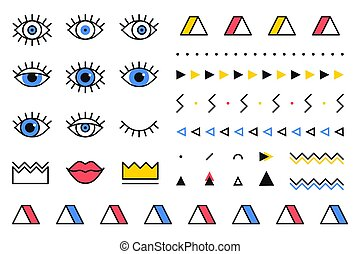Trendy vector geometric shapes set in 80s style. Memphis graphic elements on white background for banner, poster or flyer. Set includes triangle, eyes, lips, crown, border in line design.