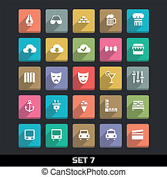 Icons With Long Shadow Set 7 - Trendy Vector Icons With Long...
