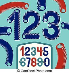 Trendy vector numerals collection. Modern funky numbers from 0 to 9 best for use in logo, poster creation. Created using dimensional vacuum pipe style.