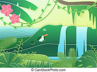 Trendy vector paper cuted style forest world. Concept of tropical rain forest Jungle with birds and waterfall.