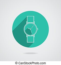 Trendy vector wristwatch icon with long shadow