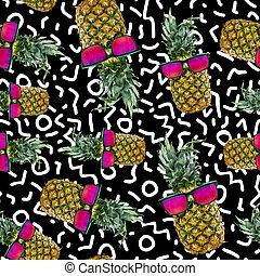 trendy, verão, fundo, com, sol, abacaxi, arte