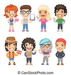 trendy, vestido, caricatura, caráteres