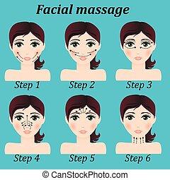 trendy, vetorial, menina, facial, jogo, original, massagem