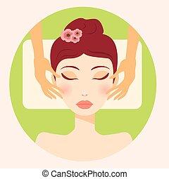 trendy, vetorial, menina, facial, original, massagem